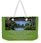 Twin Ponds And 23 Psalm On Green Weekender Tote Bag