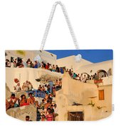 Waiting For The Sunset In Oia Town Weekender Tote Bag