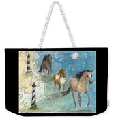 Wild Mustang Horses Outer Banks Lighthouses Nautical Chart Map Art Weekender Tote Bag
