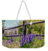 Wildflowers On The Fence Weekender Tote Bag