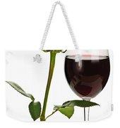 Wine With Red Rose Weekender Tote Bag