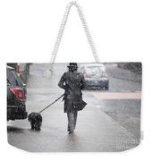 Woman Walking On The Street Weekender Tote Bag