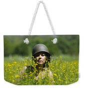 Woman With Military Helmet Weekender Tote Bag
