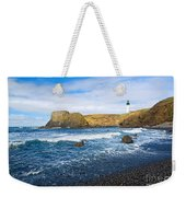 Yaquina Lighthouse On Top Of Rocky Beach Weekender Tote Bag