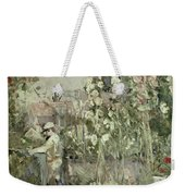 Young Boy In The Hollyhocks Weekender Tote Bag
