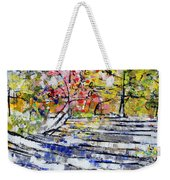 2014 19 Silver And Blue Stairs To Pink And Yellow Woods Srpsko Sarajevo Weekender Tote Bag