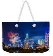 4th Of July Firework Over Charlotte Skyline Weekender Tote Bag by Alex Grichenko