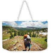 A Backpacker Hiking Weekender Tote Bag
