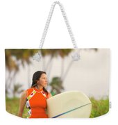 A Woman Carries A Surfboard To The Beach Weekender Tote Bag