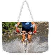 A Woman Mountain Bikes Along Trail 401 Weekender Tote Bag