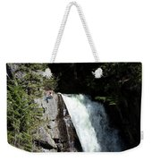 A Young Man Rappels Down A Cliff Next Weekender Tote Bag