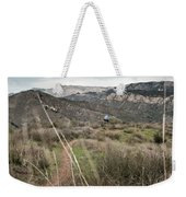 A Young Man Rides His Downhill Mountain Weekender Tote Bag