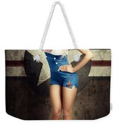 American Fashion Model In Military Pin-up Style Weekender Tote Bag