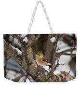 American Goldfinch In Winter Weekender Tote Bag