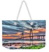 Arthur Ravenel Bridge Stormy Skies Weekender Tote Bag