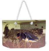 Barn Swallows Constructing Their Nest Weekender Tote Bag by J McCombie