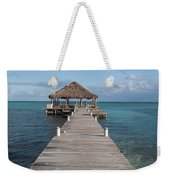 Beach Deck With Palapa Floating In The Water Weekender Tote Bag