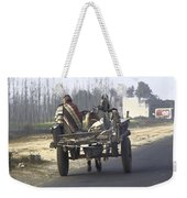 Bundled Up For The Cold In A Foggy Day In Rural India Weekender Tote Bag