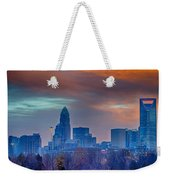 Charlotte The Queen City Skyline At Sunrise Weekender Tote Bag