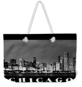 Chicago Skyline At Night In Black And White Weekender Tote Bag