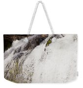 Curtain Of White Water Falling From Rocky Cliff Weekender Tote Bag