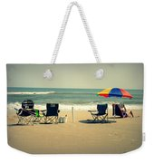 3 Empty Beach Chairs Weekender Tote Bag