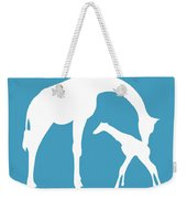 Giraffe In White And Turquoise Weekender Tote Bag