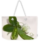 Green Peas In Pod With White Flower Weekender Tote Bag