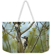 Hairy Woodpecker Weekender Tote Bag by Linda Freshwaters Arndt