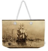 Historic Seaport Schooner Weekender Tote Bag by John Stephens