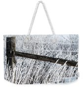 Hoar Frost On The Fence Weekender Tote Bag
