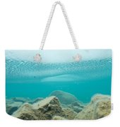 Ice Floats In Shallow Lake With Rock Reflections Weekender Tote Bag