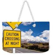 Kiwi Crossing Road Sign And Volcano Ruapehu Nz Weekender Tote Bag
