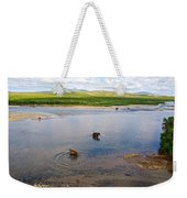 3-lay Of Land Grizzly Bears In Moraine River In Katmai National Preserve-ak Weekender Tote Bag