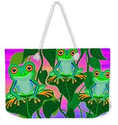 3 Little Frogs On Leafs Weekender Tote Bag