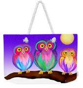 3 Little Owls In The Moonlight Weekender Tote Bag