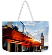 London Uk Red Bus In Motion And Big Ben Weekender Tote Bag