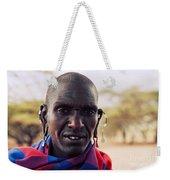 Maasai Man Portrait In Tanzania Weekender Tote Bag