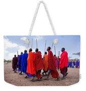 Maasai Men In Their Ritual Dance In Their Village In Tanzania Weekender Tote Bag