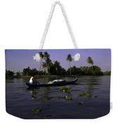 Man Boating On A Salt Water Lagoon Weekender Tote Bag