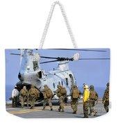 Marines Board A Ch-46e Sea Knight Weekender Tote Bag