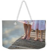 Mother And Daughter On A Wooden Board Walk Weekender Tote Bag