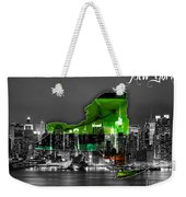 New York Map And Skyline Watercolor Weekender Tote Bag