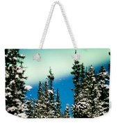 Northern Lights Aurora Borealis And Winter Forest Weekender Tote Bag