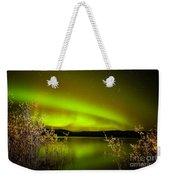 Northern Lights Mirrored On Lake Weekender Tote Bag