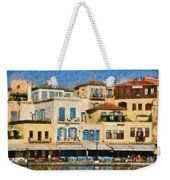 Painting Of The Old Port Of Chania Weekender Tote Bag by George Atsametakis