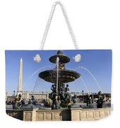 Public Fountain At The Place De La Concorde In Paris France Weekender Tote Bag