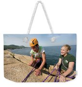 Rock Climbing On Oceanside Cliffs Weekender Tote Bag
