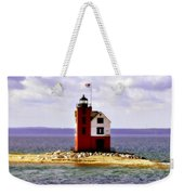 Round Island Lighthouse Straits Of Mackinac Michigan Weekender Tote Bag
