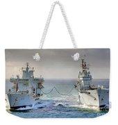 Royal Navy Aircraft Carrier Hms Ark Royal Conducts A Replenishment At Sea  Weekender Tote Bag